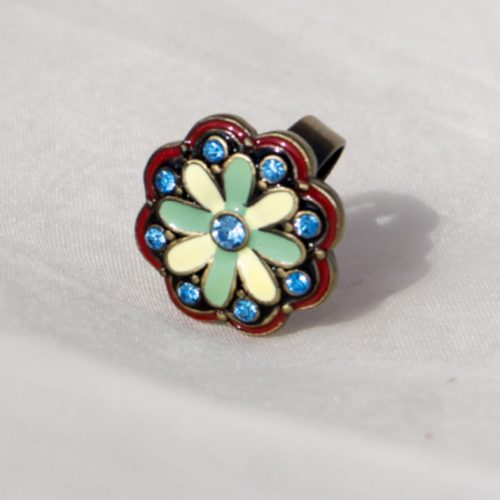 Painted Flower Metal Ring