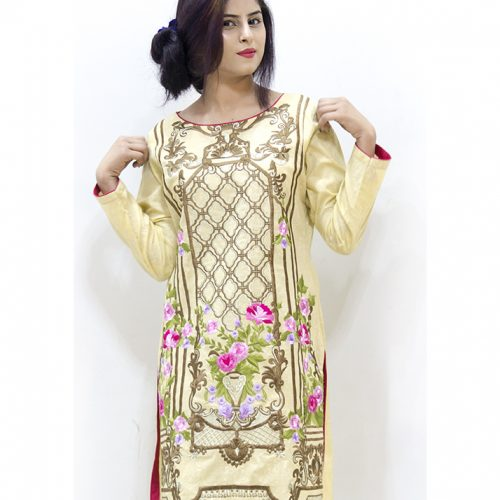 Cotton with Hand and Resham Embroidered Shirt Stitched