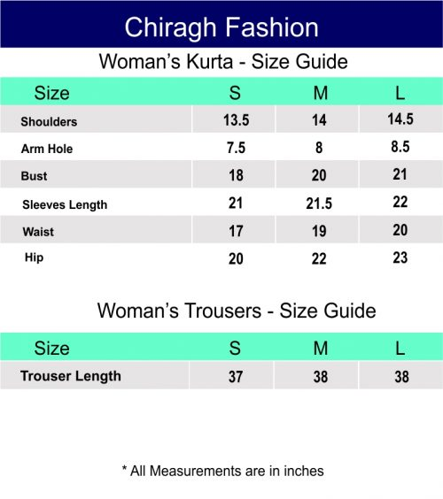 Chiragh Fashion Size Chart