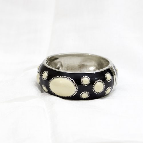 Black Metal Bangle Cream Color Dots Shape