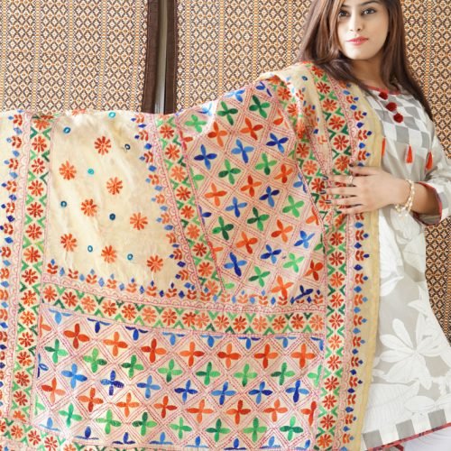 Chiragh Fashion Ladies Indian Handmade Phulkari Shawl