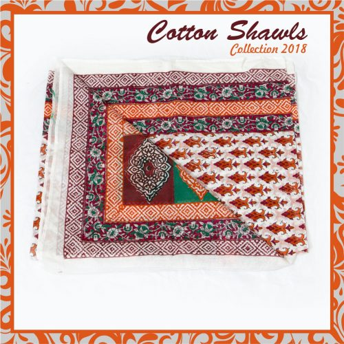 Embroidered handmade cotton shawl