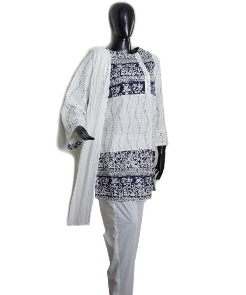 White Blue Printed 3 Piece suit