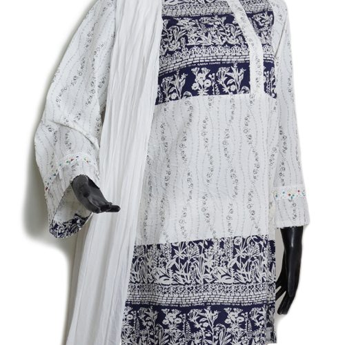 White & blue Embroidered 3 piece suit