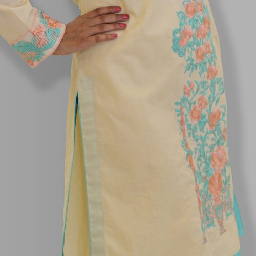 Peach Embroidered shirt Winter Collection