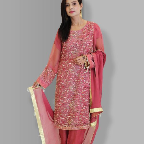 Pink Full Embroidered 3 Piece