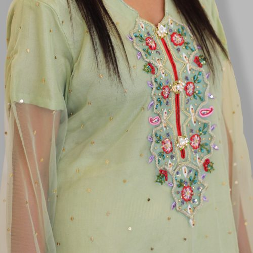 Green Embroidered Luxury Pret 2018