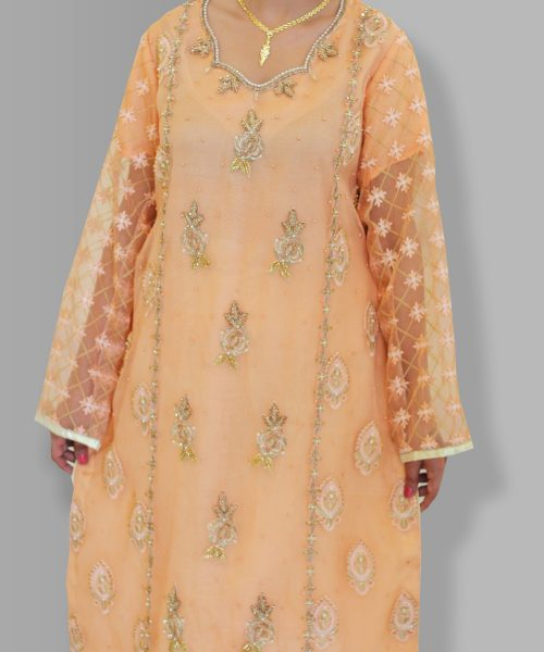 Peach color Embroidered shirt