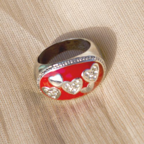 Silver Plated Red Stone with Pearls Beautiful Ring