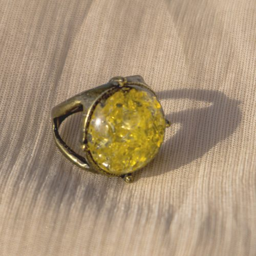 Golden Stone Steel Ring