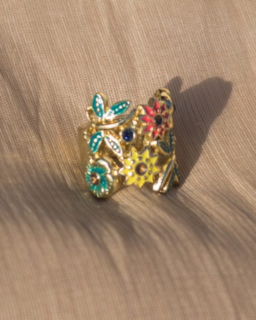 Beautiful Multi Color Gold Plated Ring