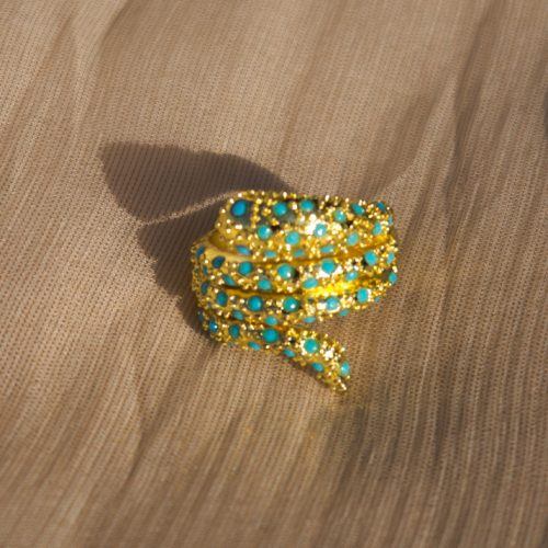 Gold Snack Shape With Ferozi Pearls Ring