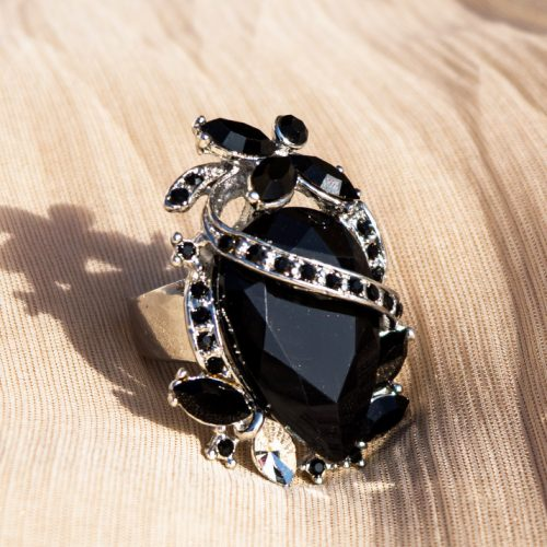 Silver Plated With Black Stone Ring