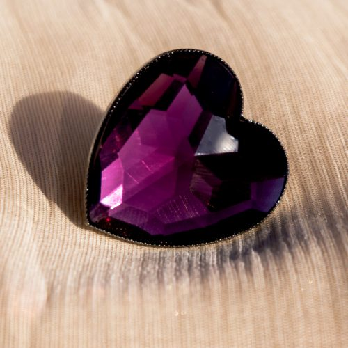 Purple Heart Shape Stone Ring