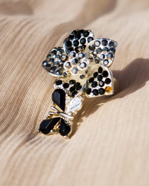 Black Pearls Silver Plated Ring