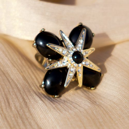 Silver Plated Black Stone and Pearls Ring