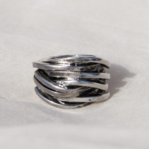 Metal Layered Stone Ring