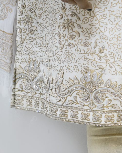 Raw Silk Block Print with Embroidered Golden 3 Piece Stitched