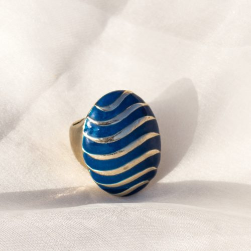 Blue Stone With Gold Layer Ring