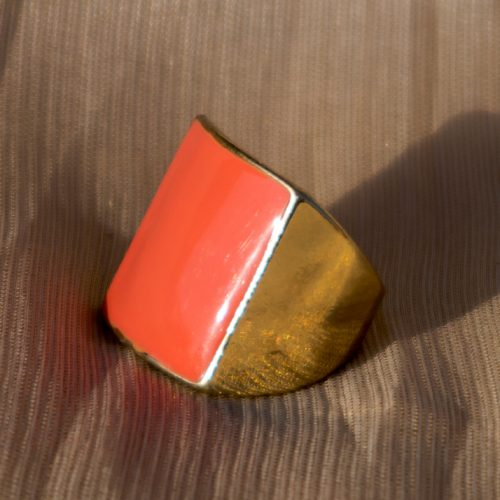 Orange Stone Gold Plated Ring