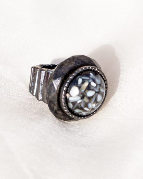 Gray and White Stone Ring