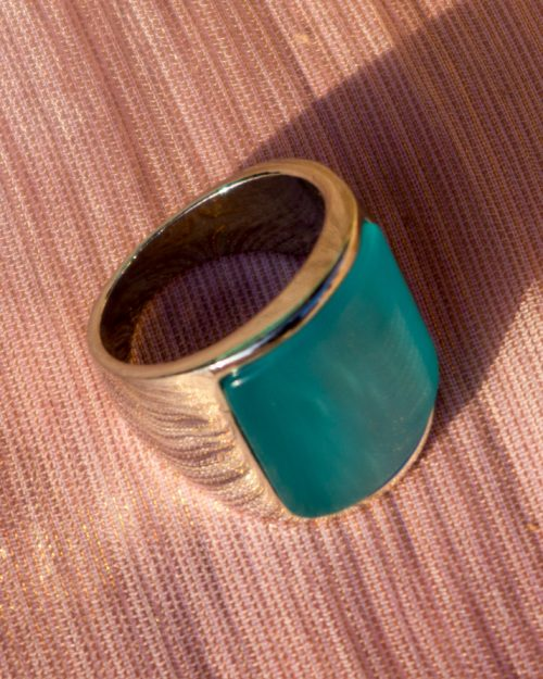 Sky Blue Stone Gold Plated Ring