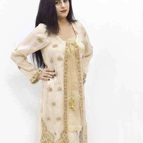 Maysurri Brown Embroidered 4 Piece Stitched