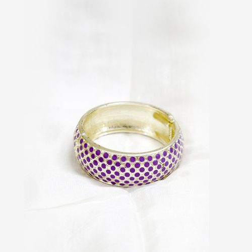 Silver Metal Bangle Purple Dots Design