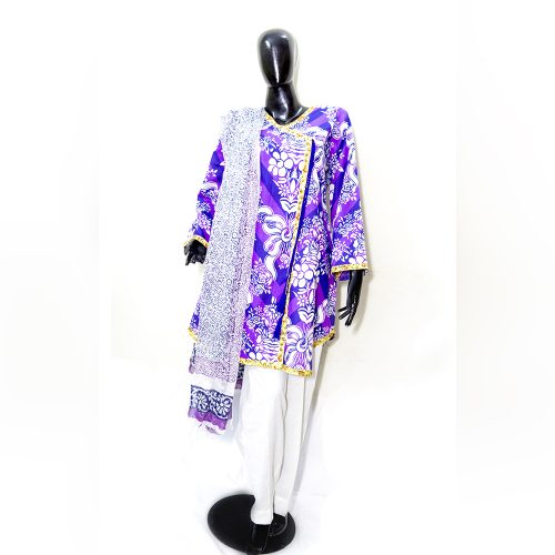 Blue Purple White Printed 3 Piece