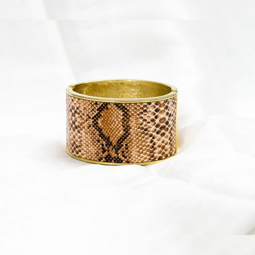 Gold Metal Bracelet with Snake Design