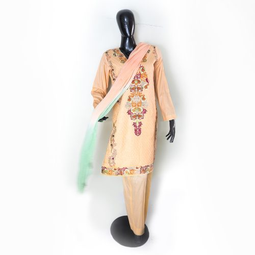 Peach Sky Green & Brown Embroidered 3 Piece