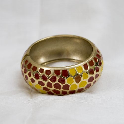 Golden Metal Bangle with Red Yellow Shape