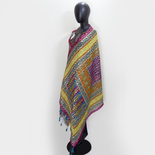 Jamawar Shawl with Block Print