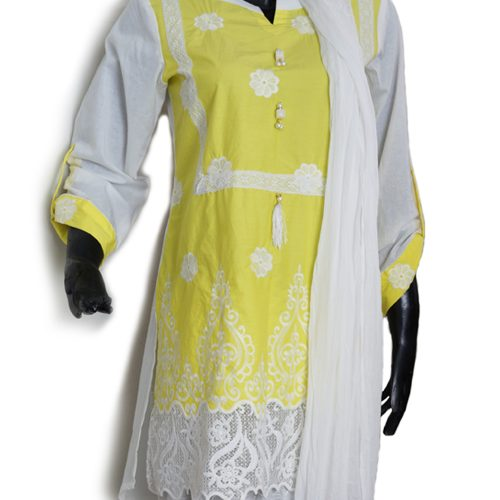 Yellow White 3 Piece Embroidered suit