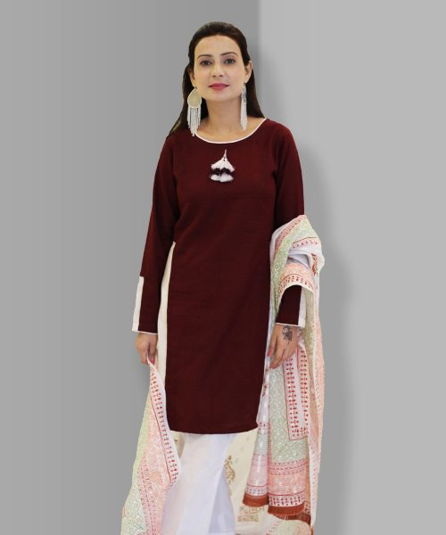 Burgundy dress with Plain trouser