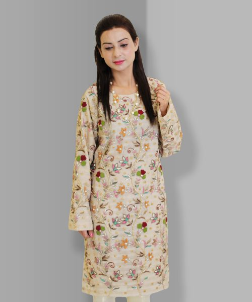 Cream Embroidered Party Wear for women